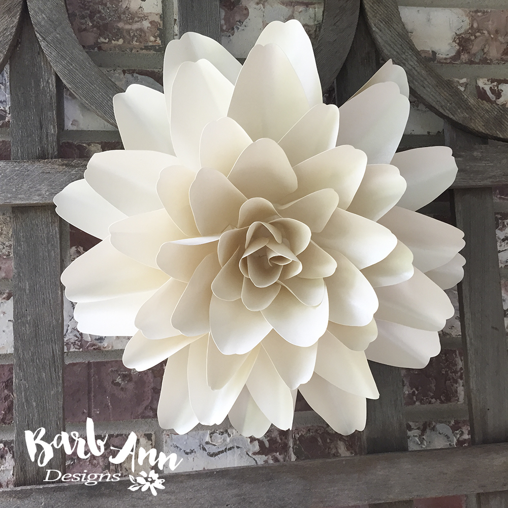 White and cream large paper flower backdrop barb ann designs large paper flower dahlia mightylinksfo Images