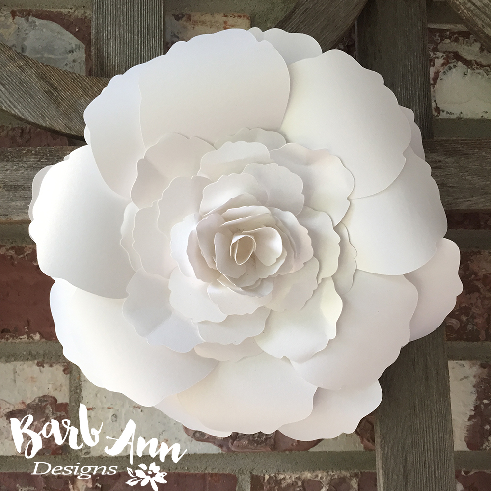 White and cream large paper flower backdrop barb ann designs large layered rose paper flower mightylinksfo Gallery