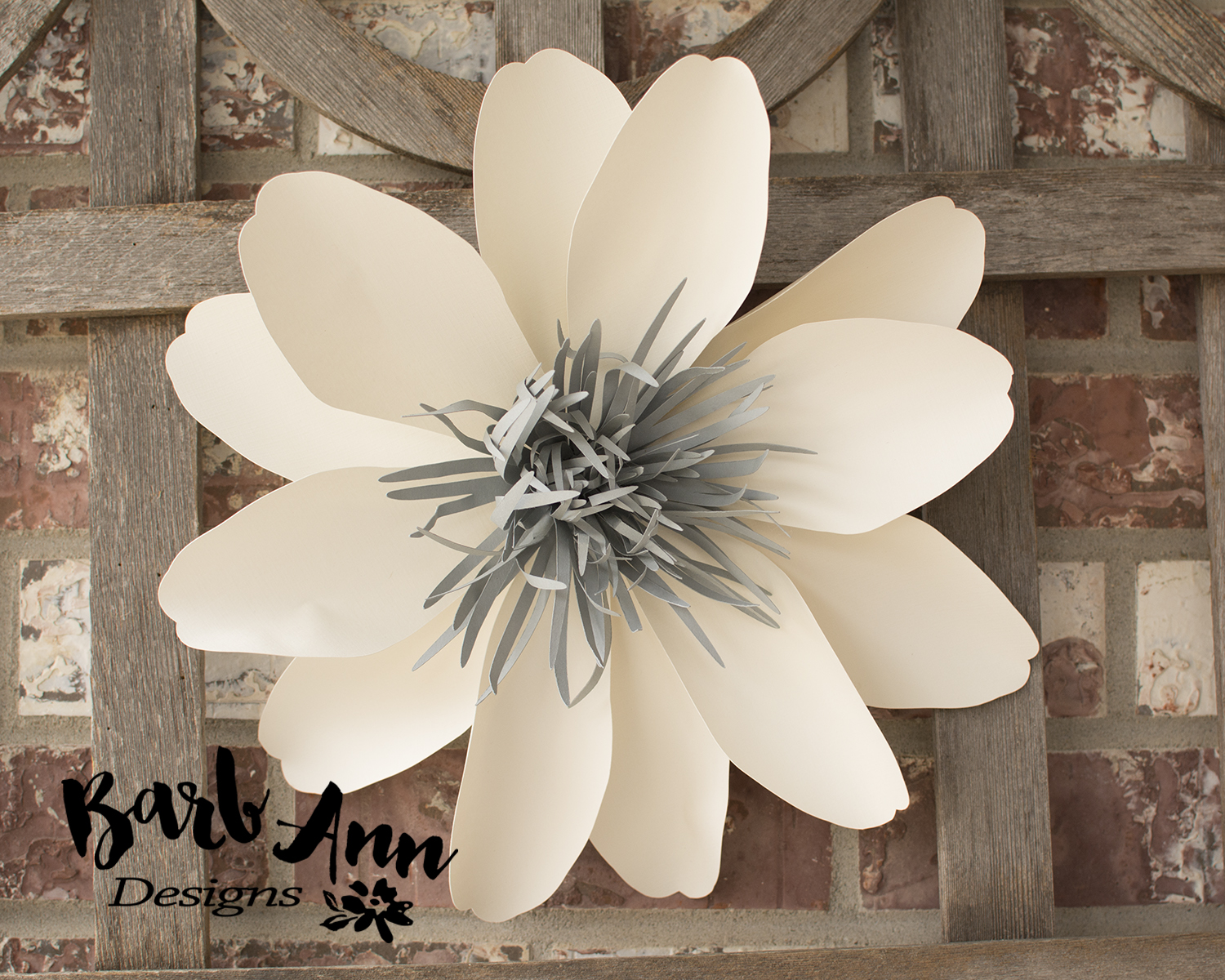 Eucalyptus gold cream large paper flower wall backdrop barb large spiked gray center white petal paper flower mightylinksfo Images