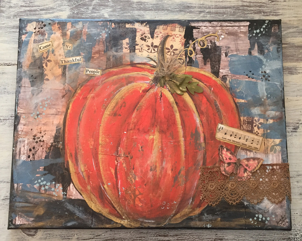Mixed Media Canvas of Pumpkin Using Hymn Titles