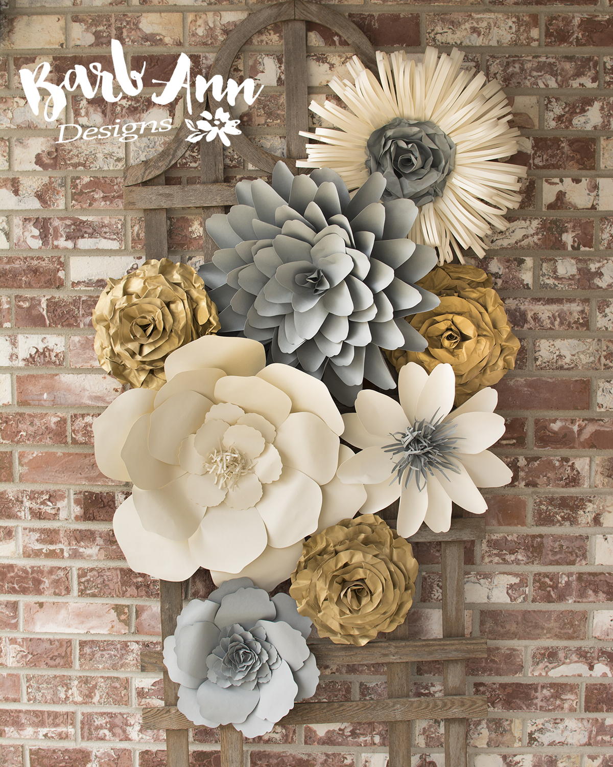 Large paper flower wall backdrop barb ann designs for Flower decoration made of paper