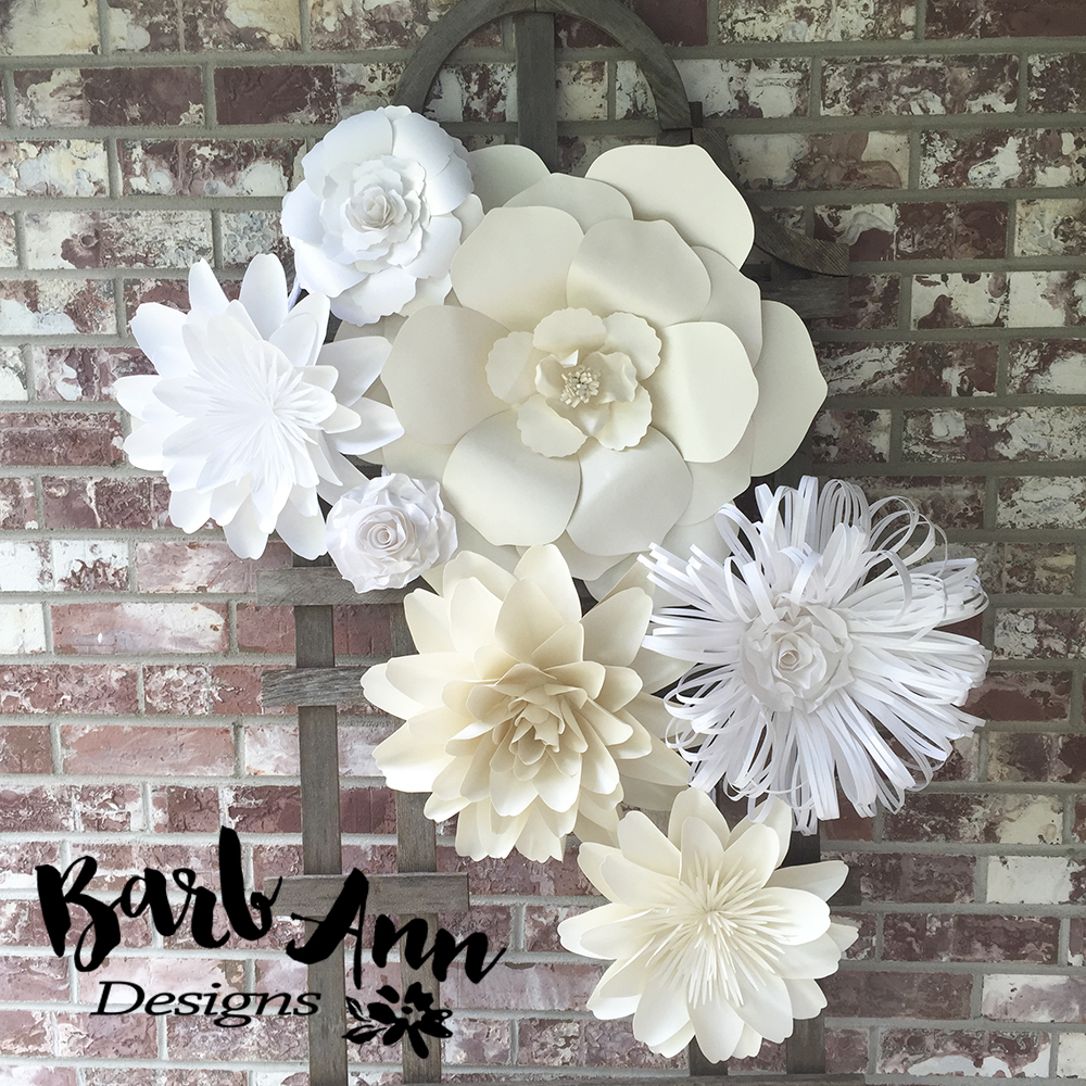 Wall Decoration Paper Flowers : White and cream large paper flower backdrop barb ann designs