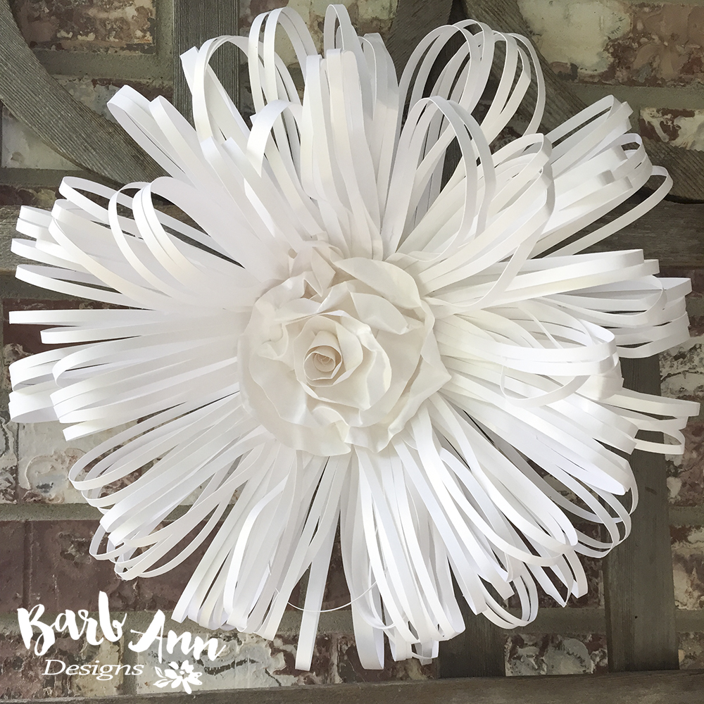 White and cream large paper flower backdrop barb ann designs large loop paper flower with rolled rose center mightylinksfo Images