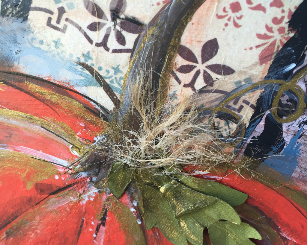 Using texture for mixed media pumpkin canvas