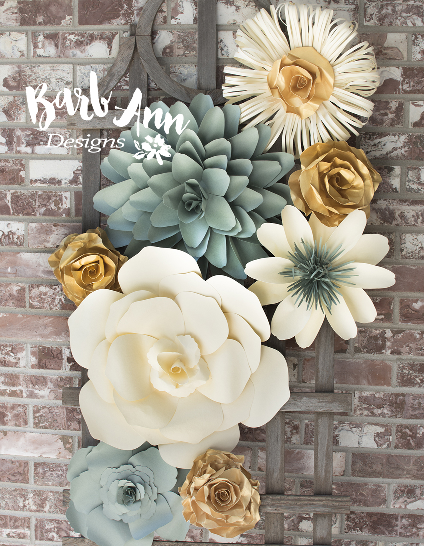 Eucalyptus gold cream large paper flower wall backdrop barb large mightylinksfo Images