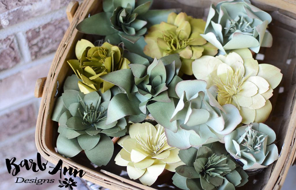 basket of paper succulents | Barb Ann Designs |