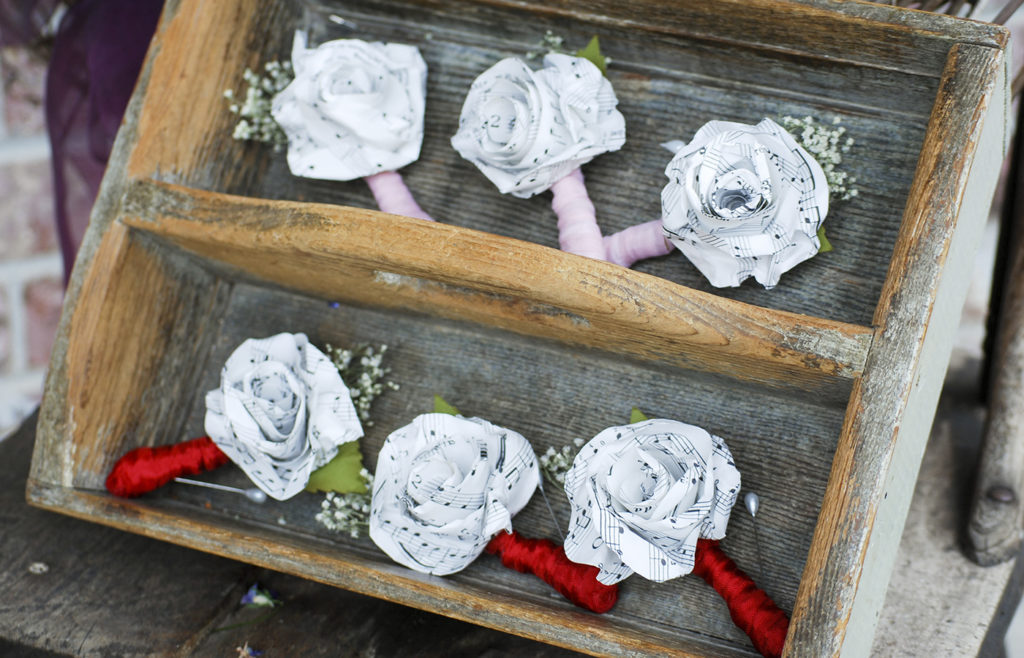 paper flower boutonnieres | Barb Ann Desings |