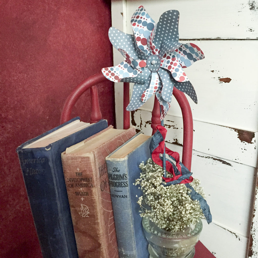 books and pinwheels in red white and blue | Barb Ann Designs |