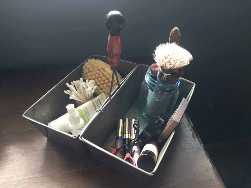 bread pan organizer with cosmetics | Barb Ann Designs |