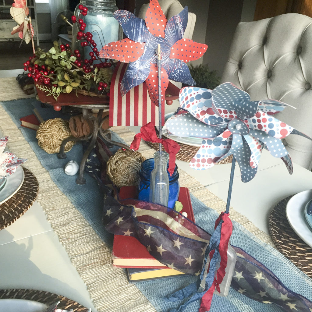 pinwheels on patriotic tablescape