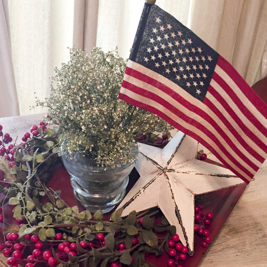 table centerpiece with flag | Barb Ann Designs |