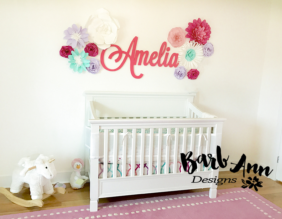 Nursery Set With Soft Teal Lavender And Pink Tones
