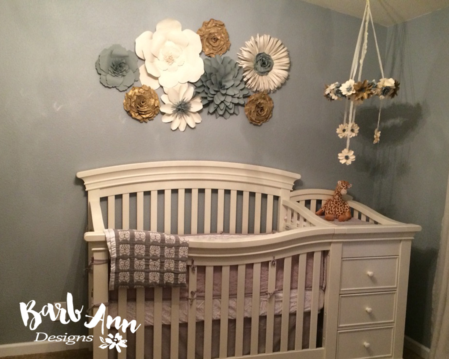Nursery set with cream gray and gold tones barb ann designs for Above the crib decoration ideas