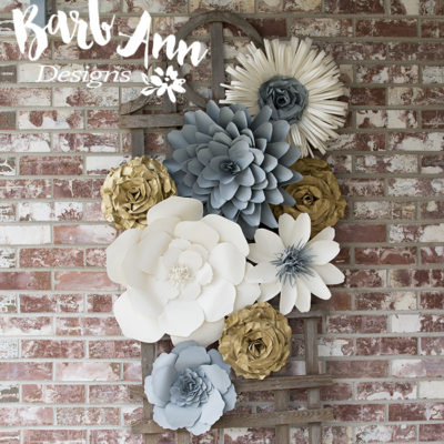 Large paper flowers barb ann designs gray gold cream paper flower set mightylinksfo Choice Image
