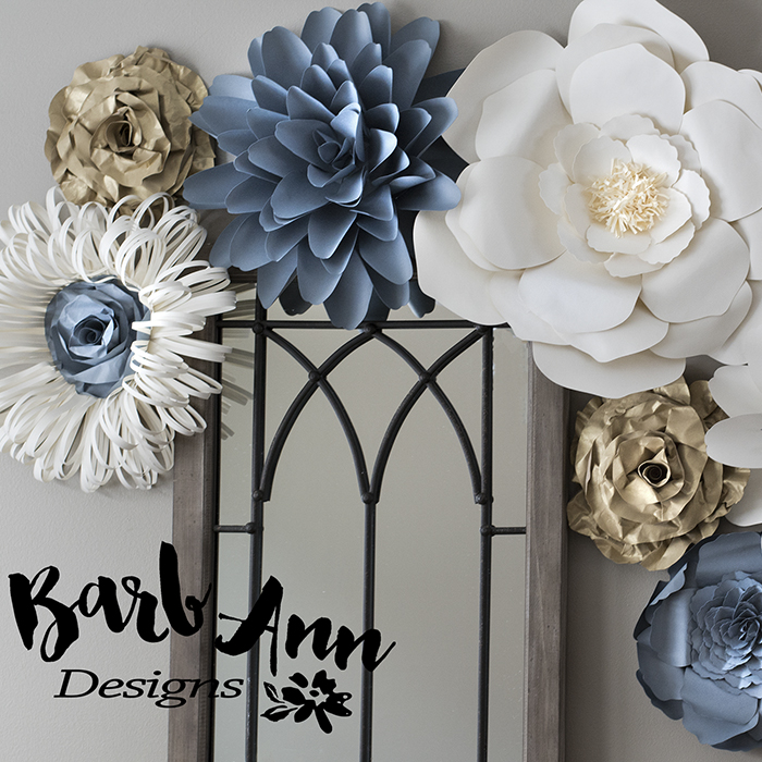 Gray Gold Amp Cream Paper Flower Set Barb Ann Designs