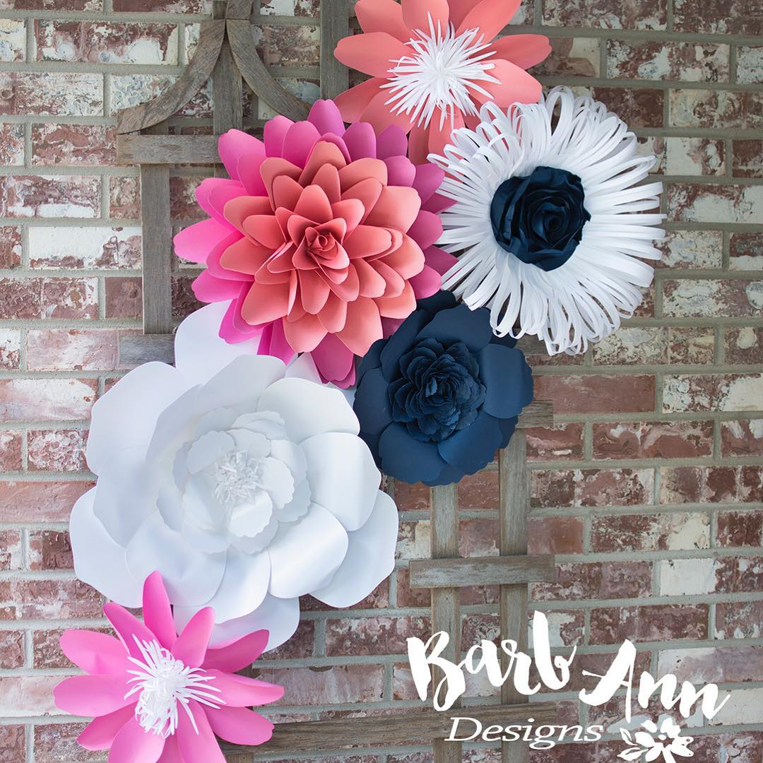 Navy pink coral paper flower set barb ann designs navy pink and coral paper flower backdrop mightylinksfo