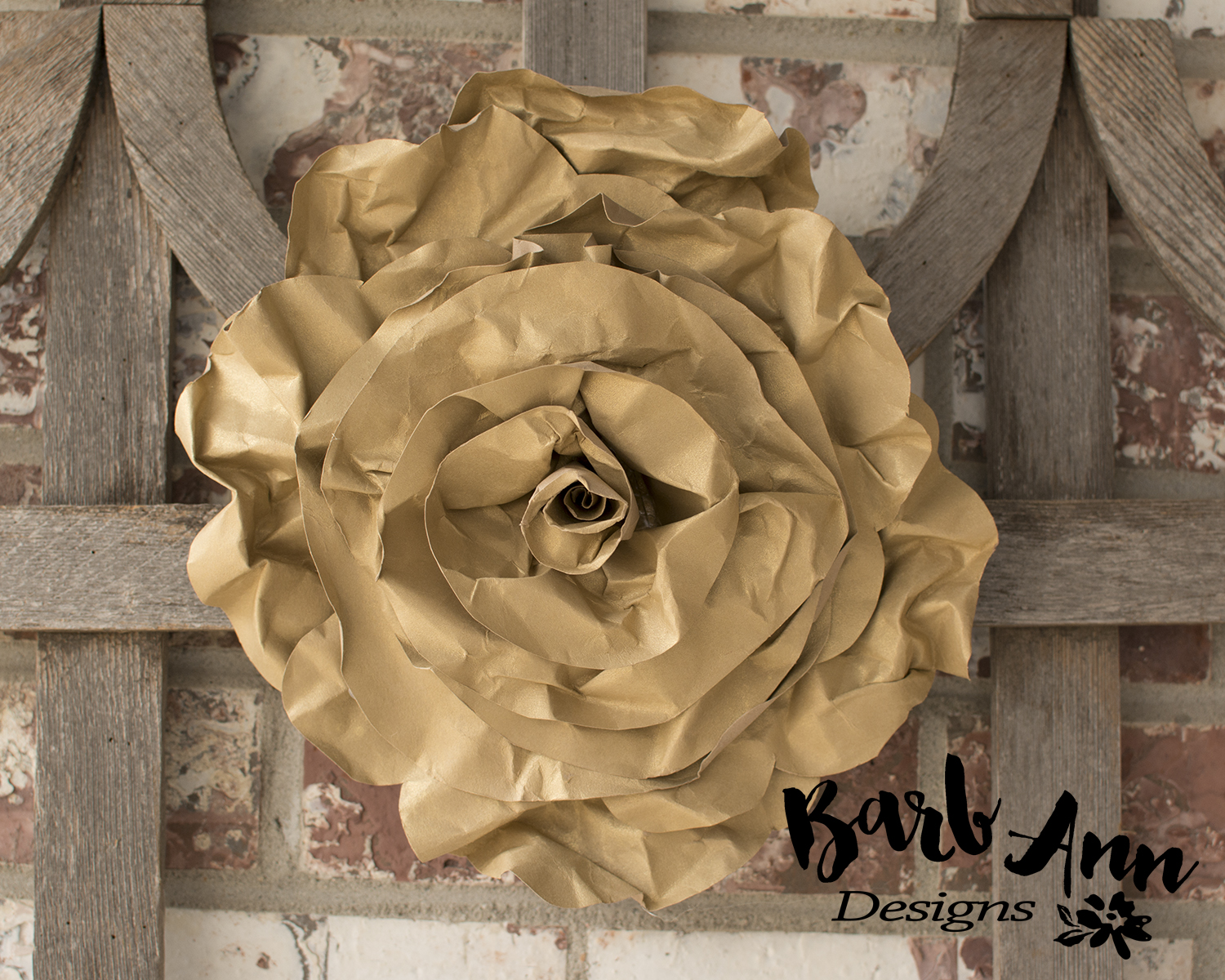 Eucalyptus gold cream large paper flower wall backdrop barb large gold rolled rose paper flower mightylinksfo