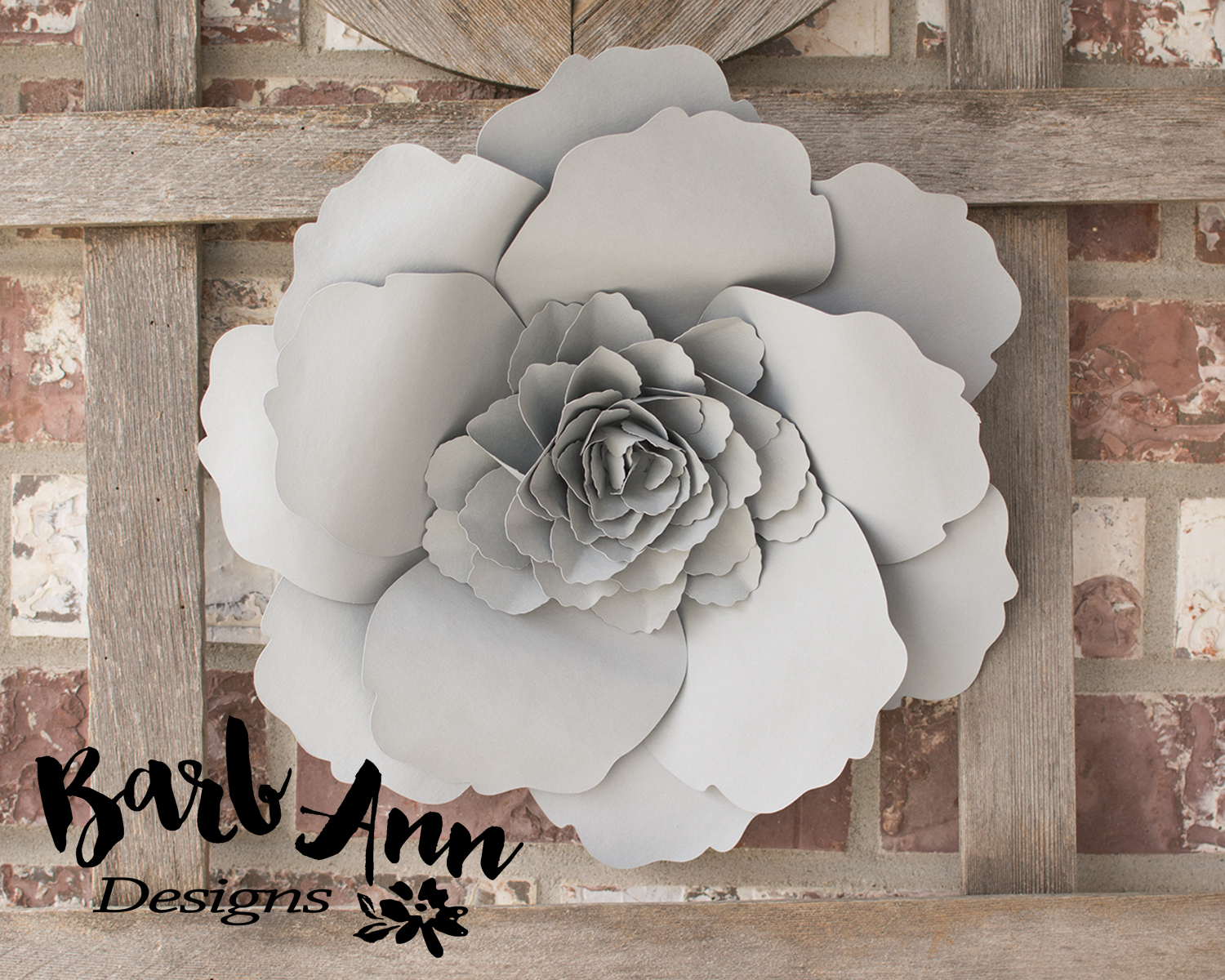 Eucalyptus gold cream large paper flower wall backdrop barb large gray layered rose paper flower mightylinksfo