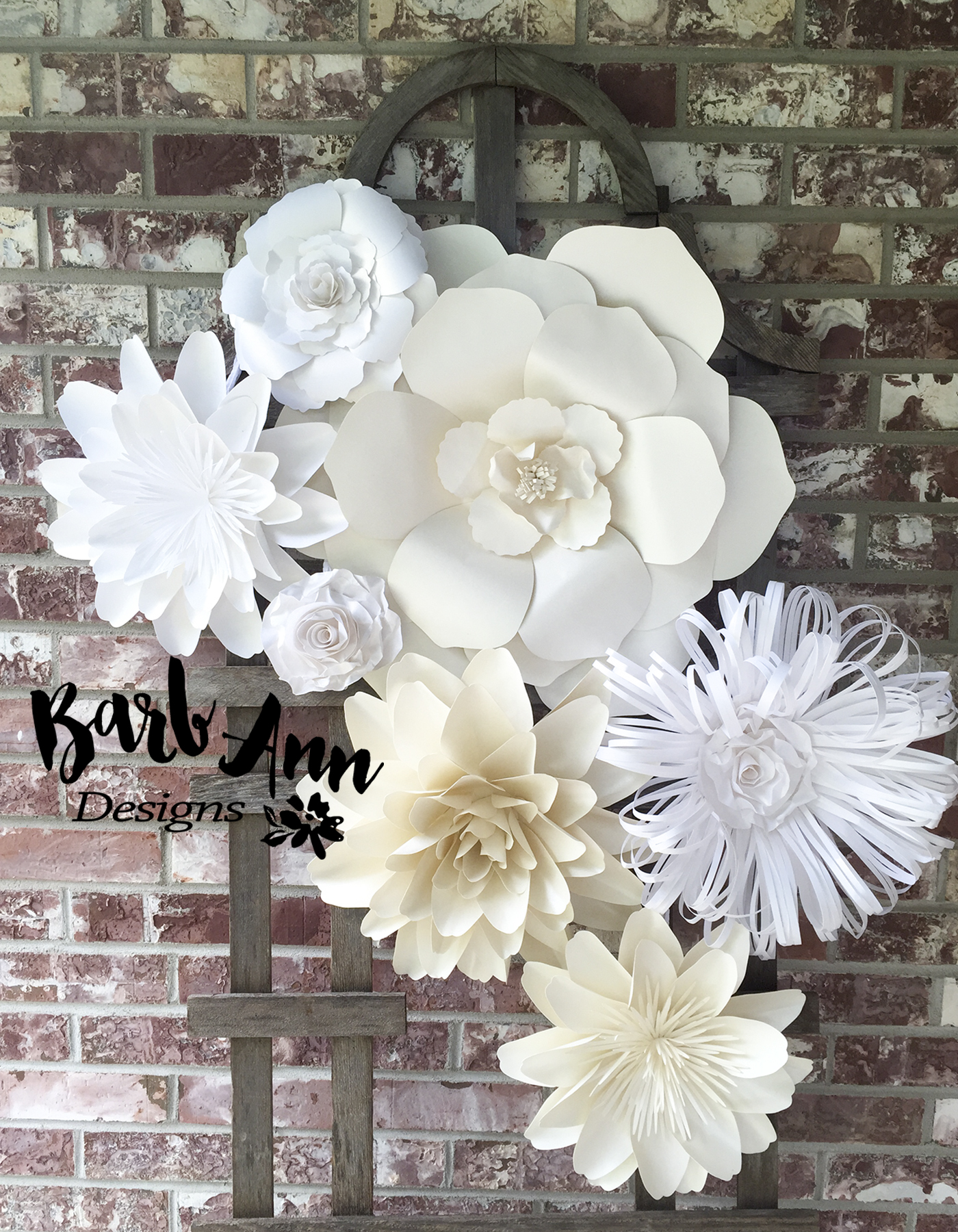 White and cream large paper flower backdrop barb ann designs large paper flower dahlia mightylinksfo