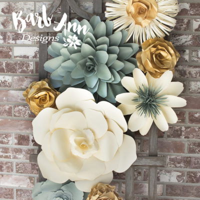 Large paper flowers barb ann designs eucalyptus gold cream large paper flower wall backdrop mightylinksfo