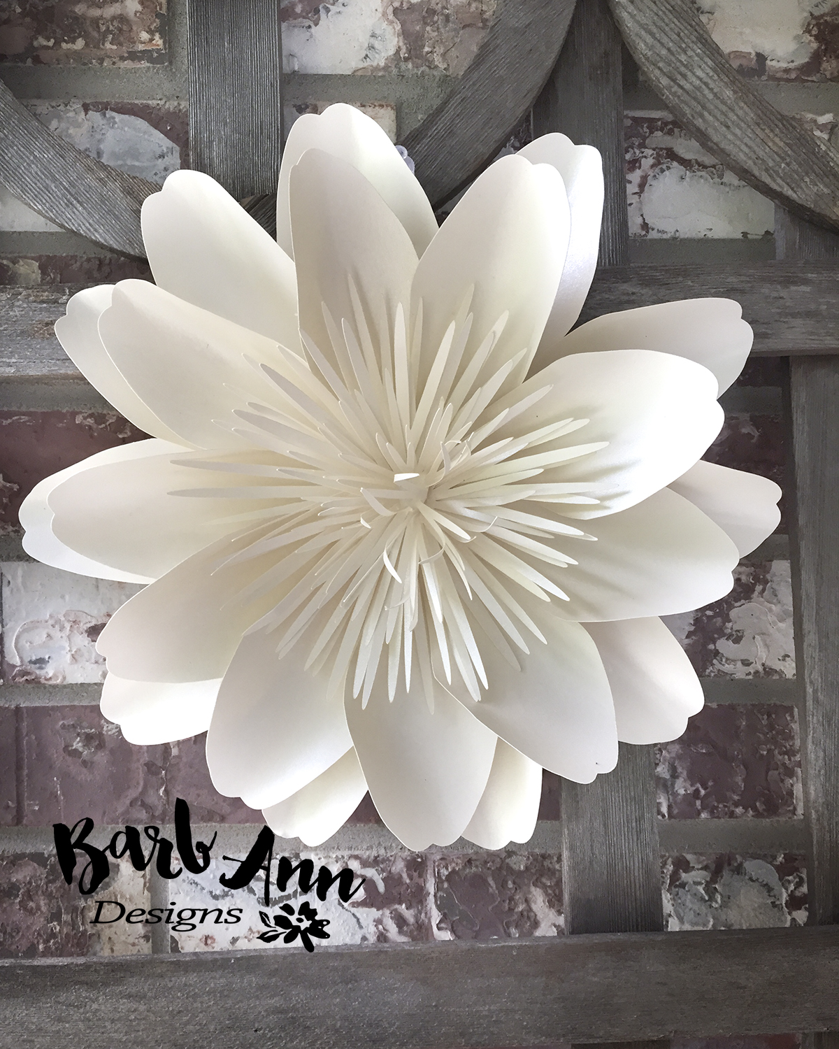 White and cream large paper flower backdrop barb ann designs large paper flower with spiked center mightylinksfo