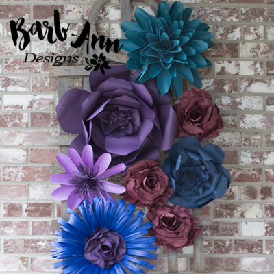 Dark purple teal burgundy paper flower set barb ann designs dark purple teal burgundy paper flower set mightylinksfo