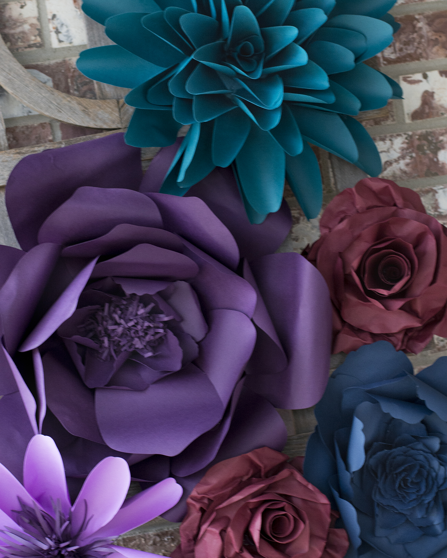 Dark purple teal burgundy paper flower set barb ann designs closeup aqua blue purple paper flowers mightylinksfo