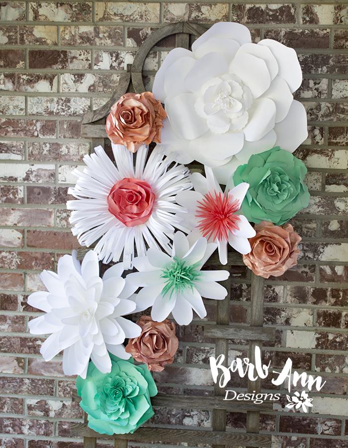 Sea foam green coral paper flower set copy barb ann designs coral mint green white set fb barb ann designs mightylinksfo