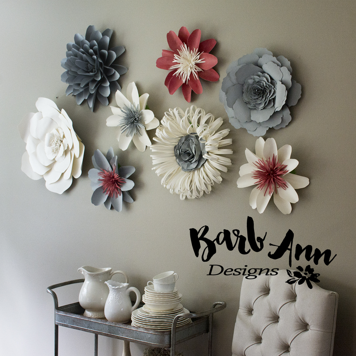 Pink Gray Amp Cream Paper Flower Set Barb Ann Designs