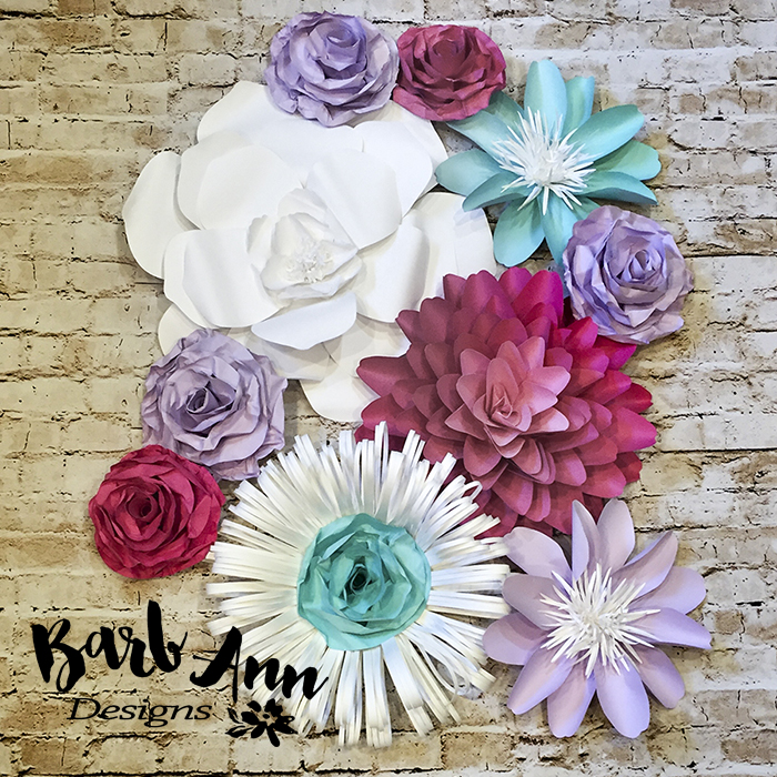 Lavender pink teal white paper flower set barb ann designs sq lavendar turqoise pink paper flower wall barb ann designs copy mightylinksfo