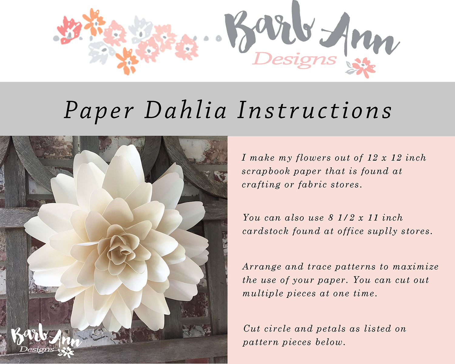 Dahlia Paper Flower Video Tutorial Barb Ann Designs